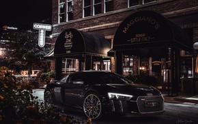 Картинка Ночь, Город, Машина, Audi R8, Car, Black, Спорткар, Transport & Vehicles, Final Fantasy XV: Kingsglaive, …