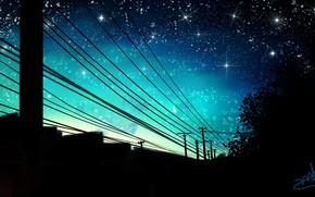 Картинка небо, деревья, ночь, дома, лэп, by wy