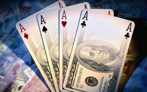 Картинка карты, доллары, казино