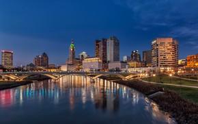 Картинка небо, мост, огни, река, здания, дома, вечер, фонари, США, Ohio, Columbus
