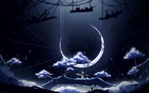 Картинка Ночь, Fantasy, Пейзаж, Art, Фантастика, Месяц, Characters, Hinkos Eigeiter, by Hinkos Eigeiter, Fantasy World !