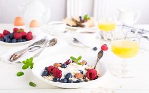 Картинка ягоды, кофе, завтрак, сок, йогурт, апельсиновый, овсяные хлопья