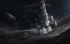 Обои space, Concept Art, Science Fiction, Asteroid