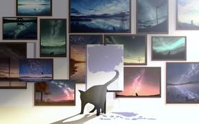 Картинка кошка, картины, рисует