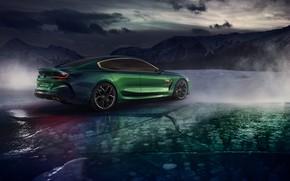 Обои лёд, BMW, сзади, купе, 2018, сбоку, M8 Gran Coupe Concept, горы, тучи
