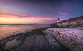 Картинка небо, закат, камни, скалы, берег, маяк, вечер, сиреневые тона