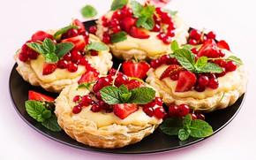 Картинка ягоды, клубника, пирожное, смородина, тарталетки