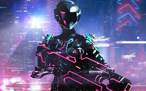 Картинка Art, Neon, Warframe, Cyber, Cyberpunk, Retrowave, Warframe Retrowave