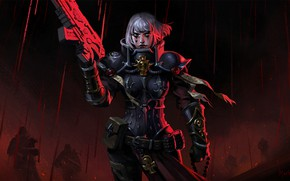 Картинка girl, gun, blood, fantasy, game, soldier, armor, weapon, digital art, artwork, Warhammer 40.000, warrior, fantasy …