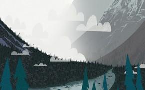 Картинка Горы, Туман, Река, Пейзаж, Art, Ёлки, Trees, Cartoon, Environment, by Andrey Syailev, Andrey Syailev, Fog2