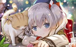 Картинка аниме, арт, девочка, котёнок, Звёздочки, kantai collection, Флотская Коллекция