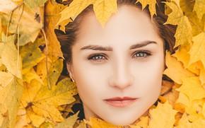 Картинка осень, взгляд, листья, девушка, крупный план, лицо, портрет, макияж, шатенка, боке