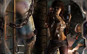 Обои пистолет, девушки, ноги, паук, очки
