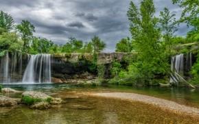 Картинка природа, скала, камни, водопад