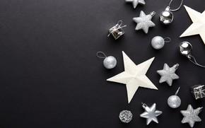Картинка украшения, шары, Новый Год, Рождество, silver, черный фон, black, Christmas, balls, New Year, decoration, Merry