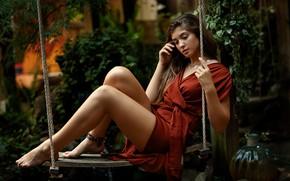 Картинка девушка, качели, ножки, Ava, Sergey Bidun