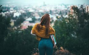 Картинка девушка, деревья, пейзаж, город, поза, дома, джинсы, фигура, прическа, панорама, шатенка, стоит, кофта, задом, боке, …