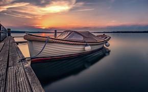 Обои закат, причал, лодка, озеро