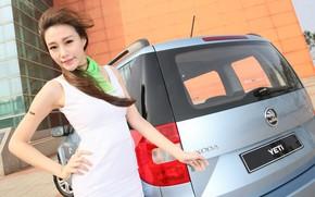 Картинка авто, взгляд, Девушки, азиатка, красивая девушка, позирует над машиной, Skoda Yeti