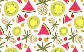 Картинка лето, фон, текстура, арбуз, ананас, pattern, fruits, Summer, фруты