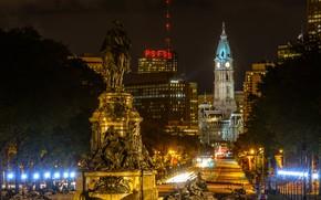 Картинка ночь, город, фото, дома, фонари, USA, Philadelphia