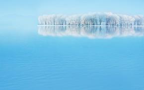 Картинка зима, пейзаж, sky blue