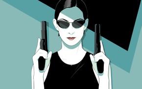 Картинка Девушка, Минимализм, Тринити, Фон, Оружие, Matrix, Арт, Фильм, Матрица, Керри-Энн Мосс, Пистолеты, The Matrix, Trinity, …