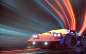 Обои Lamborghini, Neon, Countach, Lamborghini Countach, Synth, Retrowave, Synthwave, New Retro Wave, Videogame, Futuresynth, Синтвейв, Ретровейв, ...