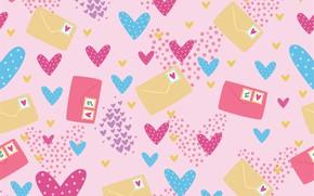 Картинка фон, текстура, сердечки, pattern, letters, конверты, Seamless