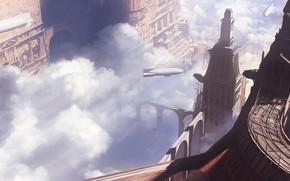 Картинка city, fantasy, airship, aircraft, clouds, steampunk, digital art, buildings, artwork, skyscrapers, fantasy art, zeppelin, fantasy …