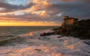Картинка море, закат, дом, замок, скалы, берег, прибой, особняк