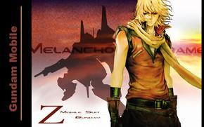 Картинка тень, шарф, воротник, перчатки, парень, ремень, блондин, Gundam