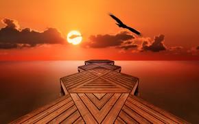 Картинка море, небо, причал