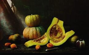 Картинка темный фон, урожай, нож, тыквы, натюрморт, предметы, композиция