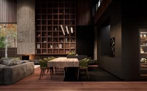 Картинка дизайн, уют, дерево, мебель, помещение