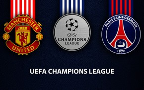 Картинка wallpaper, sport, logo, football, Manchester United, PSG, UEFA Champions League, Paris Saint-Germain, Manchester United vs …