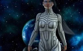 Картинка девушка, космос, планета
