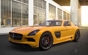 Картинка Mercedes-Benz, Авто, Желтый, Машина, Mercedes, SLS AMG, AMG, Рендеринг, Black Series, Mercedes-Benz SLS AMG, by …