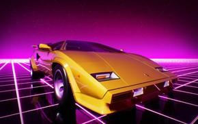 Картинка Lamborghini, Машина, Графика, Neon, Countach, Lamborghini Countach, 80's, Synth, Game Art, Retrowave, Synthwave, New Retro …
