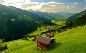 Картинка House, Nature, Green, Landscape, Mountain, Scenery, BeautIful