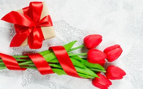 Картинка любовь, цветы, подарок, букет, лента, сердечки, тюльпаны, красные, red, love, flowers, romantic, hearts, tulips, valentine's …