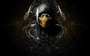 Обои лицо, маска, game, scorpion, face, mortal kombat