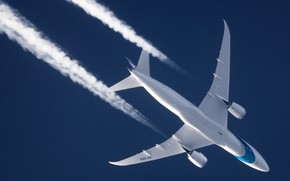 Картинка Самолет, Boeing, Dreamliner, Авиалайнер, В полете, Israel Airlines, Инверсионный след, Boeing 787-8 Dreamliner
