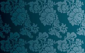 Картинка цветы, синий, фон, винтаж