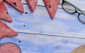 Картинка Арбуз, очки, коктейль