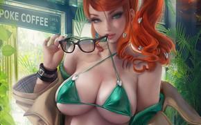 Картинка girl, sexy, cleavage, long hair, boobs, anime, beautiful, pretty, redhead, erotic, swimsuit, breasts, Pokemon, glasses, …