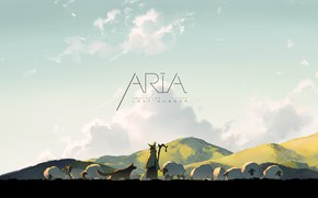 Картинка sky, animals, nature, anime, dog, clouds, Aria, sheep, artwork, countryside, shepherd, flock, anime girl, Aria …