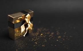 Картинка фон, подарок, лента, Новый год
