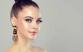 Обои лицо, портрет, макияж, прическа, голубые глаза, вгляд, woman, portrait