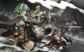 Картинка girl, sword, blood, weapon, anime, fight, ken, blade, dragon, blonde, asian, bow, slayer, manga, lizard, …